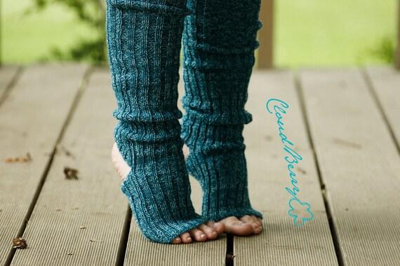 Yoga socks spats / dance socks / boot socks leg warmers Blue teal very long knee high gift for yoga Clothing Accessories Women legwear