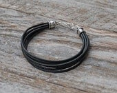 Men's Leather bracelet with rustic silver closure