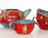 Vintage Antique Ohio Art Tin Childrens Toy Tea Set Dishes with Disney Donald Duck
