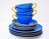 Mid Century Dishes Vintage Royal Cobalt Blue Maple Ware China