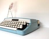 Vintage Aqua Typewriter - Portable Manual Typewriter - Mid Century Typewriter