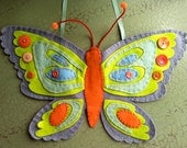 Beautiful Handmade Butterfly- from felt, vintage buttons, and embroidery