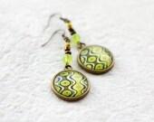 Green Earrings, Ornament Earrings, Bronze Earrings