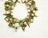 Pastel Bracelet, Sewing Lady Bracelet, Vintage Bracelet, Bronze Bracelet