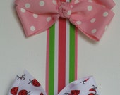 Pink, Green and White Striped Hair Bow and Barrette Holder