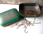 Vintage Green Tin Box Filled wtih Rusty Fishing Hooks
