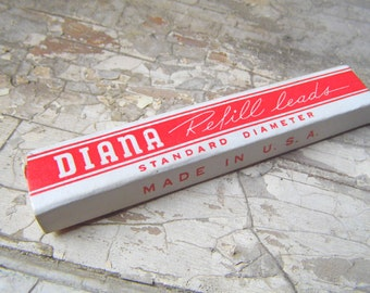 Vintage Diana Long Red Leads for Mechanical Pencils, Original Box, Great for Treasure Box Miniature, Office Supplies, Stationery