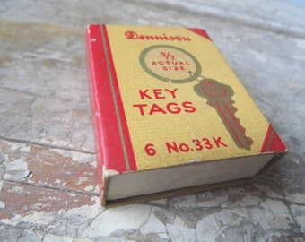 Vintage Office Desk Supplies, Dennison Key Tag Box, Industrial, Home and Office