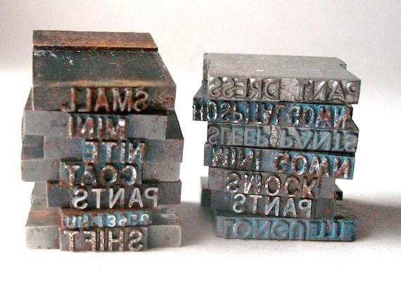 Vintage Miniature Letterpress, Printers Blocks, 4 Pcs., Industrial, Printers Letters, Jewelry Projects, Altered Art, Steampunk