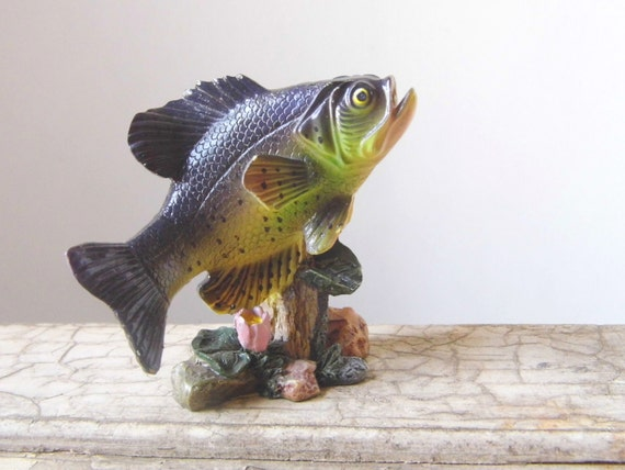 Vintage Fish Figurine, Cottage Chic for Cabin or Lodge, Small Knickknack for Sports Collection