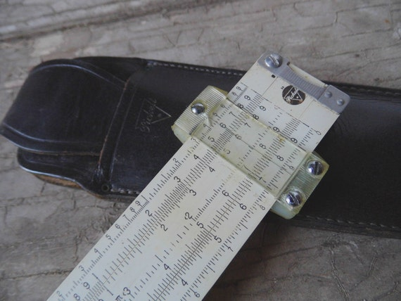 Vintage Slide Rule, by Pickett in the Original Leather Case, c. 1940, Architecture, Engineering, Office Supplies