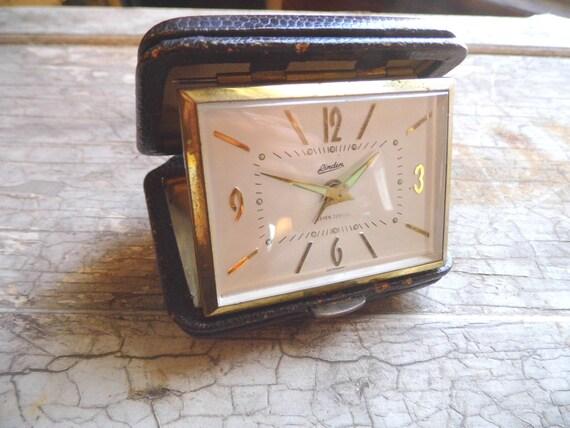 Alarm Clock Vintage Travel Clock in Dark Brown Leather Case Made in Germany