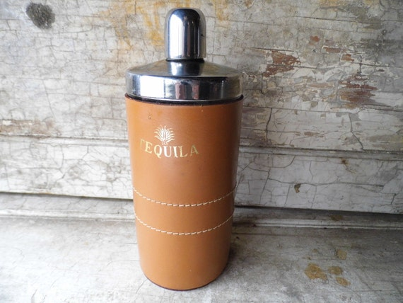 Decanter Flask, Vintage Leather Cover over Stainless Steel Decanter, Tequila, for Retro Bar Mad Men and Cottage Chic