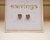 Cute Wooden Button Heart Earrings