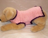Dog Sweater Crochet Medium-Pink-(Breed Sizes List Included)
