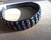 Black and multicolored Beaded headband