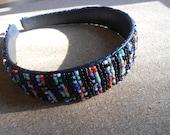 Black and multicolored Beaded headband