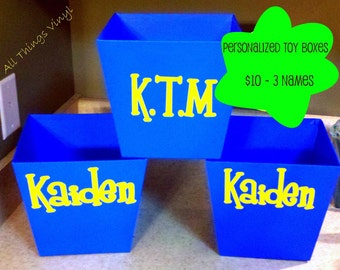 Childs Monogram Vinyl Decal Sticker and Labels for Toy Boxes