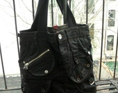 waxed denim canvas bag upcycled
