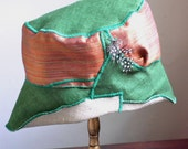 Green floppy hat, summer hat, reversible