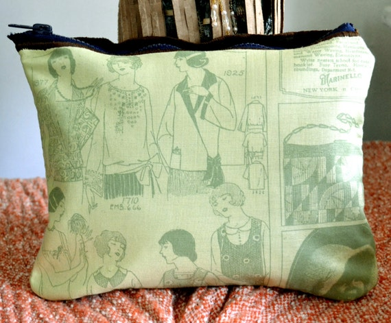 vintage magazine fabric pouch