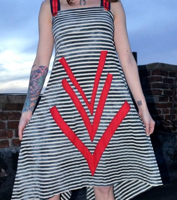Geometric Red Spring Dress - Women's Spring Dress -  SUMMER SALE