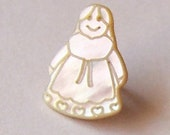 """SET of 3 TRUE Mop DOLLS Buttons, warm white, New, carved,  about 1/2"""" 13mm, with shank"""