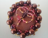 butterfly brooch embroidery jewelry pearl brown