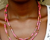 PInk Paper Bead Necklace with Seeds