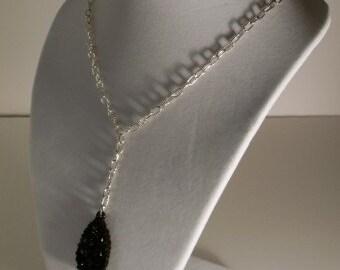 ON SALE -- Black Bird & Silver Chain Necklace