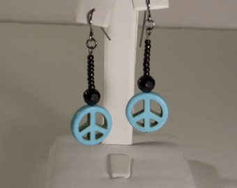 REDUCED PRICE Turquoise Peace Sign & Black Beaded Dangly Earrings