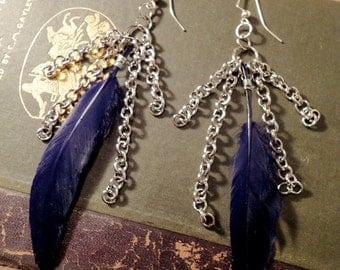 Black Feather and Silver Chain Dangly Earrings