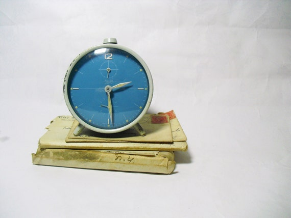 Vintage retro 1960s alarm clock sky blue