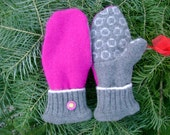 CUSTOM Upcycled Wool Mittens:  Adult size