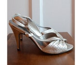 SALE - Rotelli Silver Leather Sling-back Peep-toe Heels, Size 6 - 6.5