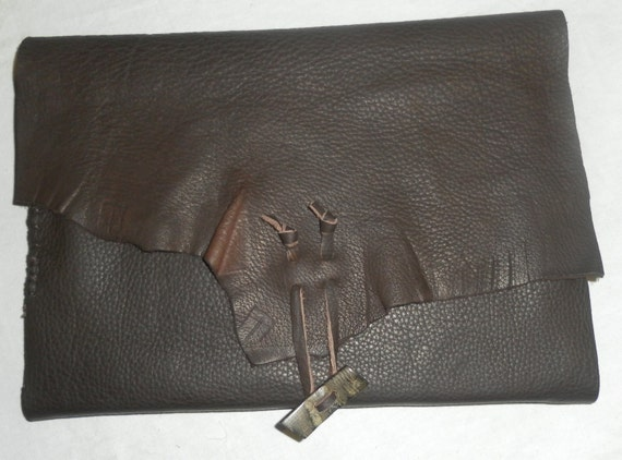 Leather refillable journal handmade made of brown buffalo leather