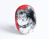 red squirrel ring- illustrated handmade jewelry - polymer clay ring