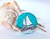 Coctail turquoise ring, sailboat, polymer clay ring, illustrated ring
