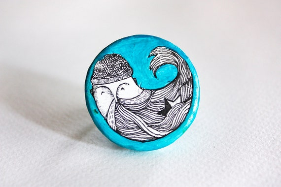 Turquoise polymer clay ring, mint ring