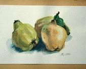 Quinces, autumn, fruit, original watercolor painting, garden, farm, cottage, framed, kitchen, wall art