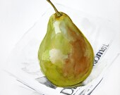 Lonely Green Pear on a newspaper,  original  watercolor  painting, 21x29 cm - fruits painting collection, apple and pear watercolors