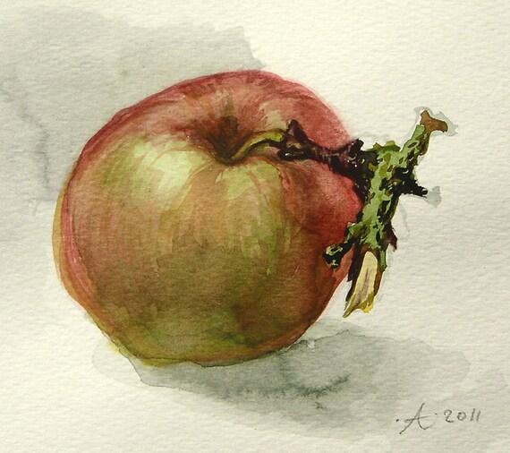 Keuken Decoratie Appel : , origineel aquarel schilderij, tuinliefhebber kado, keuken decoratie
