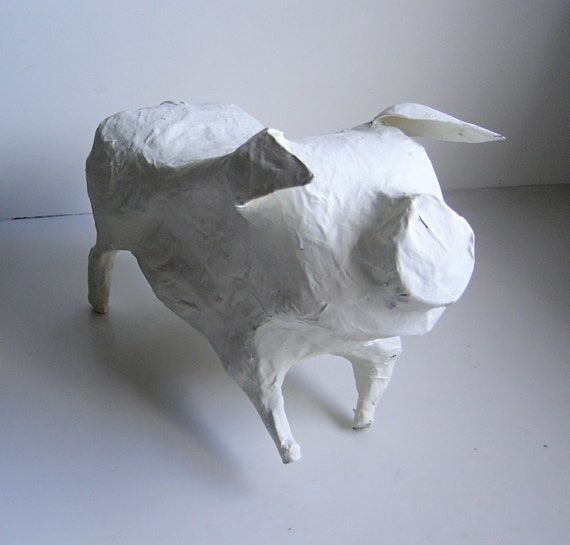 Ooak Pig Paper Mache Sculpture Modern Art Gift Home Decor