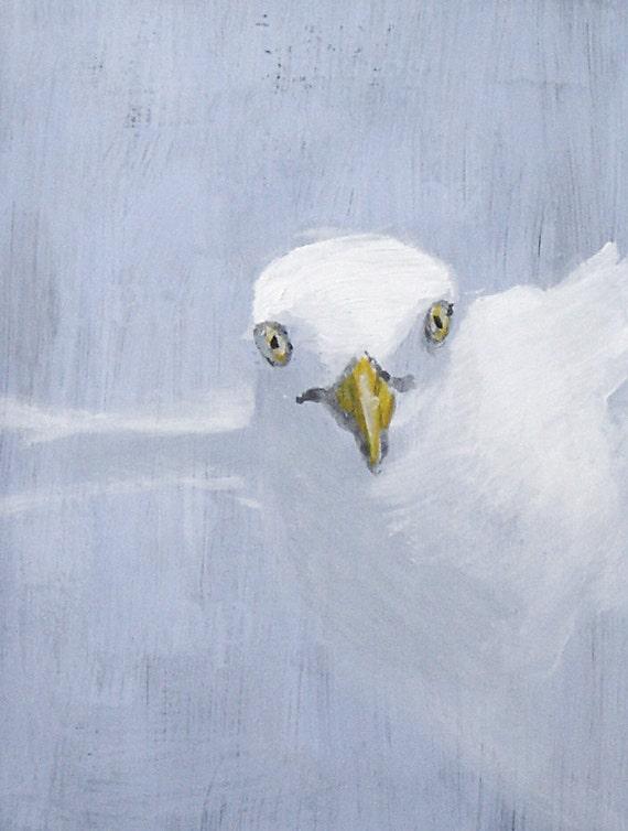 Seagull, Bird Acrylic Painting, light blue, grey, original art, minimal painting