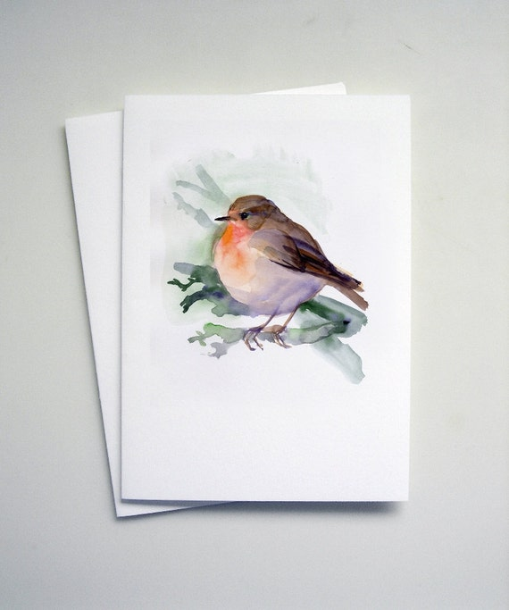 Greeting Cards, Chickadee Card, set of 8 bird cards, Red Robin Card, from original watercolors, cute, singing birds tender painting cards