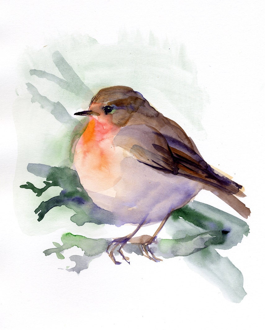 Red Robin Print Robin Painting Bird Giclee Print Watercolor
