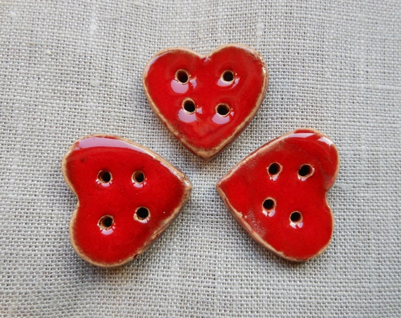 3 Matching Red Heart-Shaped Handmade Ceramic Buttons