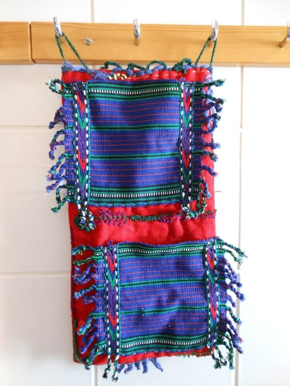 Hanging organizer - storage pockets, ethnic style, red, green and blue