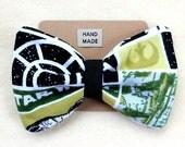 Handmade Green Star Wars Fabric Clip On Hair Bow