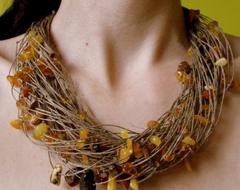 Organic necklace - Natural Baltic Amber Linen  Necklace, 925 Silver